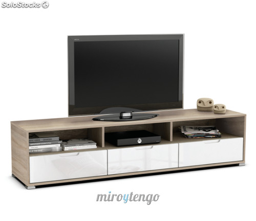 Mueble mesa tv multimedia color roble con 3 cajones en for Muebles de comedor en color blanco