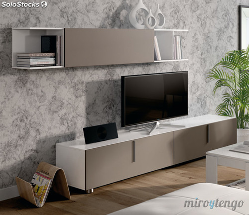 Mueble modular completo tv sal n comedor lyon color for Modulos salon blanco