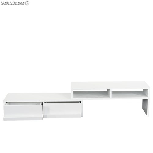 Mueble modular para tv con estantes extensible color blanco for Mueble modular blanco