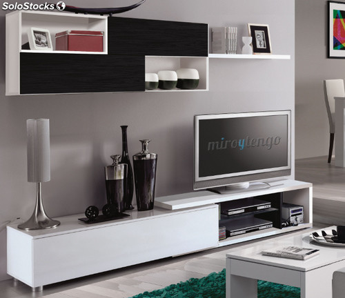 Mueble modular tv completo de sal n comedor color blanco brillo y negro malla - Mueble salon tv ...