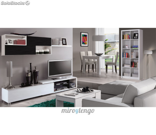Mueble modular tv completo de sal n comedor color blanco for Muebles de salon negros