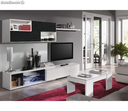 Mueble modular tv completo de sal n comedor color blanco for Salon completo moderno