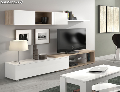 Mueble modular tv completo de sal n o comedor nature haya for Modulos salon blanco