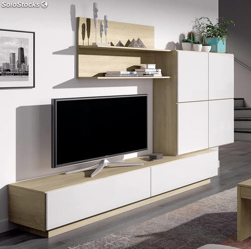 Mueble para sal n comedor en color roble canadian y blanco for Mueble salon blanco y roble