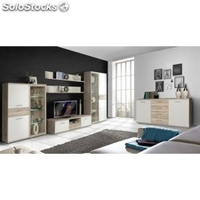 Mueble sal n en color roble arena y blanco de 350 cm de for Mueble salon 180 cm