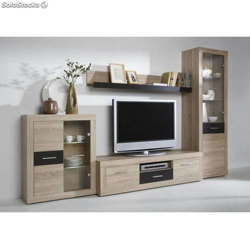 Mueble sal n en roble y wengu con leds for Muebles color roble