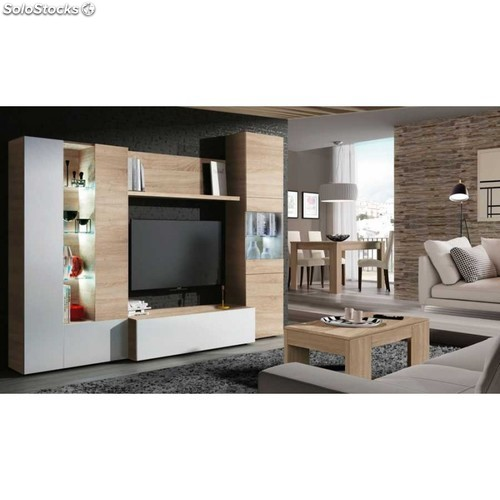 Mueble salon roble canadian y blanco brillo con led for Mueble salon blanco y roble
