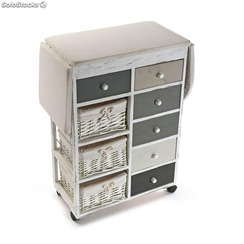 Mueble tabla de planchar con cestas blanco for Mueble para tabla de planchar