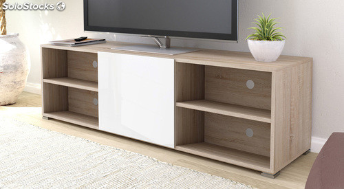 Mueble televisi n sal n color blanco y roble 4 huecos 1 for Mueble salon blanco y roble