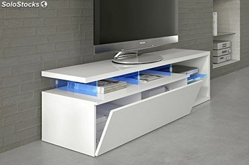 Mueble Tv Blanco Brillo Y Luces Led