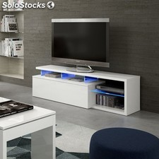 Mueble tv blanco brilo con led