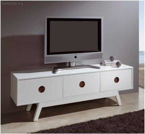 Mueble tv blanco nogal tv 160 for Mueble salon blanco y nogal