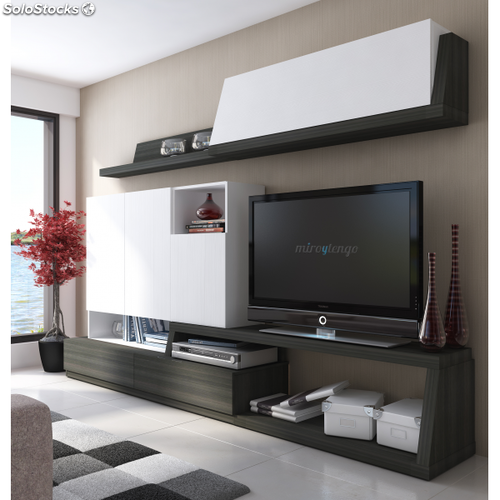 Mueble tv completo modular de salon comedor en blanco y for Muebles salon gris ceniza y blanco