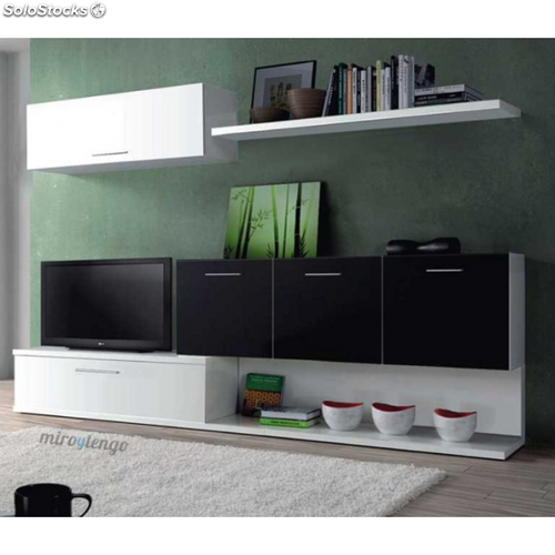 Mueble tv completo salon comedor aral blanco y negro for Mueble salon blanco y negro