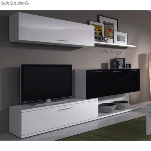 Mueble tv completo salon comedor aral blanco y negro for Modulos salon blanco