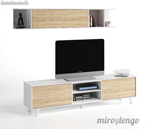 Mueble tv de salon modulo bajo y estante nordico blanco y for Modulos bajos para salon