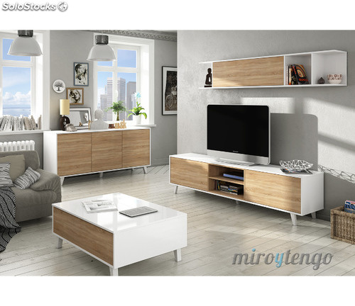 Mueble tv de salon modulo bajo y estante nordico blanco y for Salon comedor completo
