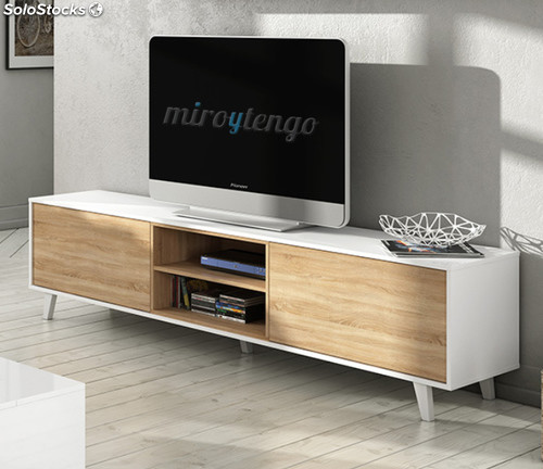 Mueble tv de salon modulo bajo y estante nordico blanco y for Mueble blanco y roble