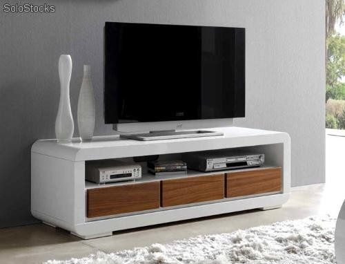 Mueble tv nogal blanco tv 601 for Mueble para tv blanco
