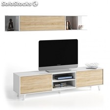 Mueble TV Zaiken Plus - Color - Blanco - Roble Canadian