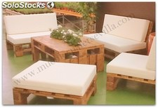 Muebles Palet Conjunto Mesa Sofas Puf Chill Out - Palets-chill-out