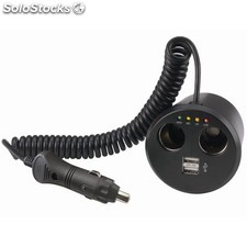 Multi conector a mechero 12 v. cone07, doble + USB , cable flexible, 3 luces de