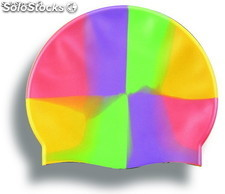 multicolor silicone swimming cap