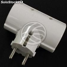 Multiplier double pin plug schuko white (IA91)