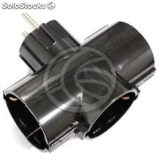 Multiplier pin plug schuko triple in black (IA93)