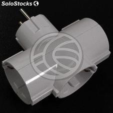 Multiplier pin plug schuko triple white (IA92)