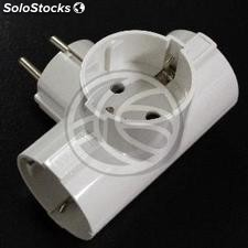 Multiplier pin plug schuko triple white with angle (IA94)