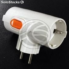 Multiplier pin plug schuko triple white with switch (IA95)