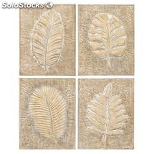 Mural pared 4 modelos blanco natural metal 41x4,50x52cm