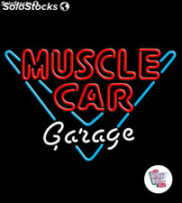 Neon Retro Muscle Car Garage