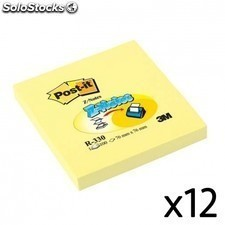 Notas adhesivas 3m - pack 12 uds- 100 hojas post-it zig-zag - 76 x 76mm