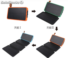 nuevo modelo power bank solar panel plegable 10000 mAh con linterna de camping