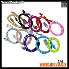 Nylon trenzó Braided sync cable datos usb Cable para iPhone 5 5s 6 6s 7