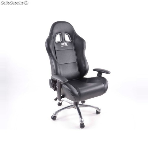 Office chair sports seat with armrest, black leather, white stitching