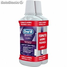 Oral b enjuague bucal 3D white luxe brillo seductor menta fresca 2X500ml 180946
