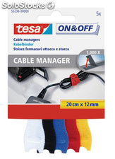 Organizador cable manager velcro 20CMX12MM 5 unid