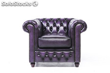 Original Canapé Chesterfield Antique bleu 6 places