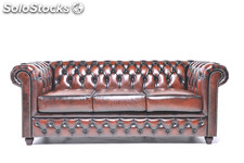 Original Canapé Chesterfield Antique brun 2 places