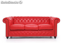 Original Canapé Chesterfield Rouge 2 places