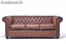 Original Canapé Chesterfield Vintage Brun 2 places