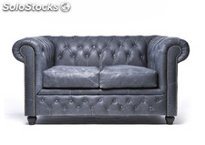 Original Canapé Chesterfield Vintage Noir 1 place