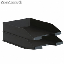 Pack 2 bandejas apilables - fondo liso - 350x258x65 mm - negro-