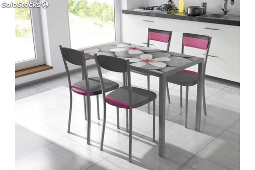 Pack 2 sillas en color gris y rosa de cocina o comedor for Sillas comedor color gris