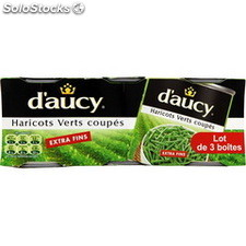 Pack 3X1/4 haricots verts extra fins d'aucy