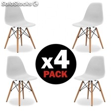 Pack 4 sillas Tower Wood - Color - Blanco