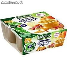 Pack 4X100G pomme rhubarbe biscuit bledina